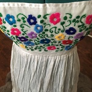 Vintage Embroidered Strapless Dress from Mexico